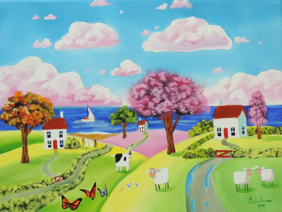 Folk art naive landscape with a cow