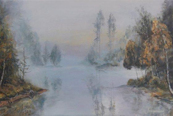 Misty fall landscape