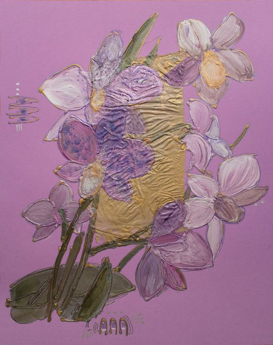 Lilac orchids on a mauve background
