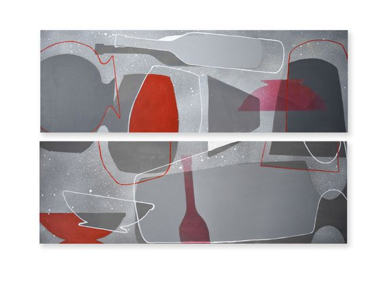 DIPTYCH Abstract stil life Dancing Gray Bottles 1 and 2