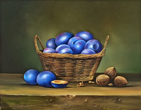 Still life with plums and nuts (24x30cm, oil painting, ready to hang)