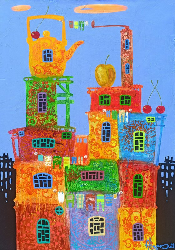Childhood dreams-23 (50x70cm, oil painting, modern art, ready to hang)