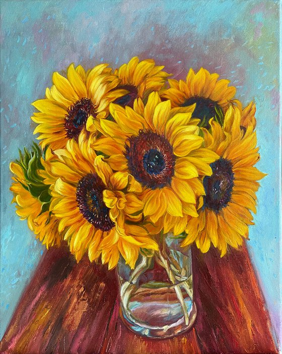 Sunflowers on a turquoise background
