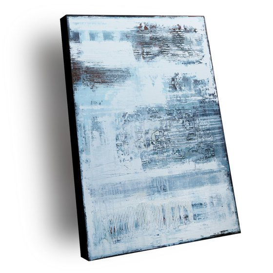 PALE BLUE - ABSTRACT ACRYLIC PAINTING TEXTURED * INDUSTRIAL BLUE