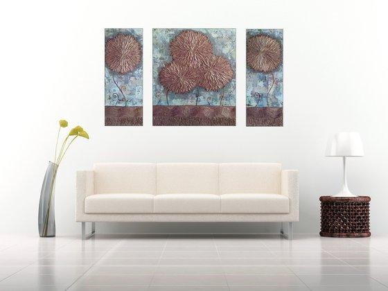 Asters (20x50, 40x50, 20x05 size, texture, Modern art )