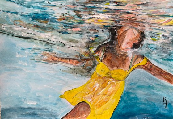 Underwater Painting for Home Decor, Swimmer Portrait Art Decor, Artfinder Gift Ideas