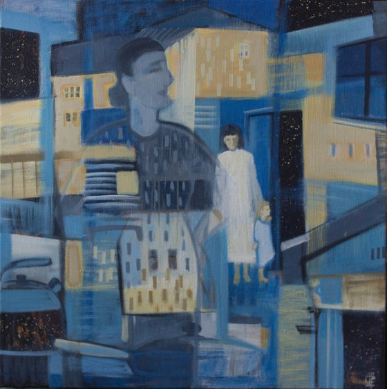 Returning home - blue, girl, vjther and child, home interior, ofice art, cubism, decor