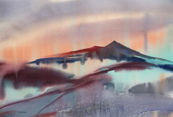 Mountains at dawn. Abstract landscape.