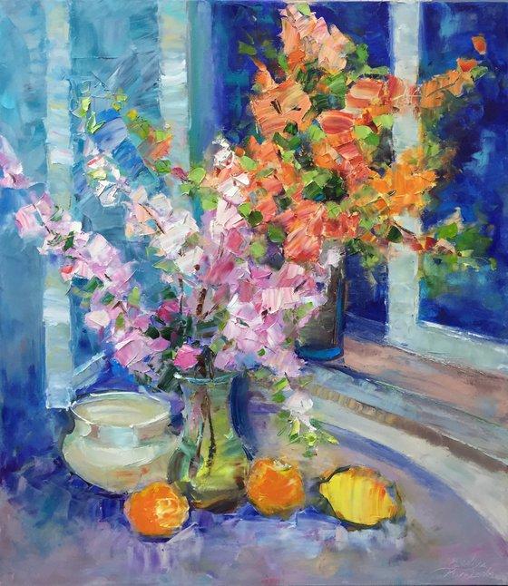 Flower painting, Original Art Spring, Impasto flowers, still life, Painting Cherry Blossom, Original Artwork, Oil Impasto, Painting by Kseniya Kovalenko