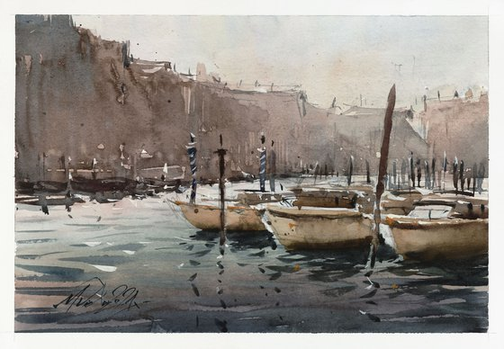 Colorful atmospheric mood in Venice, 2021, watercolor on paper.