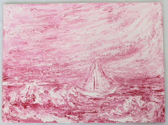 Sail - Impressionistic Seascape painting of a sail boat on acrylic paper - Pink seascape