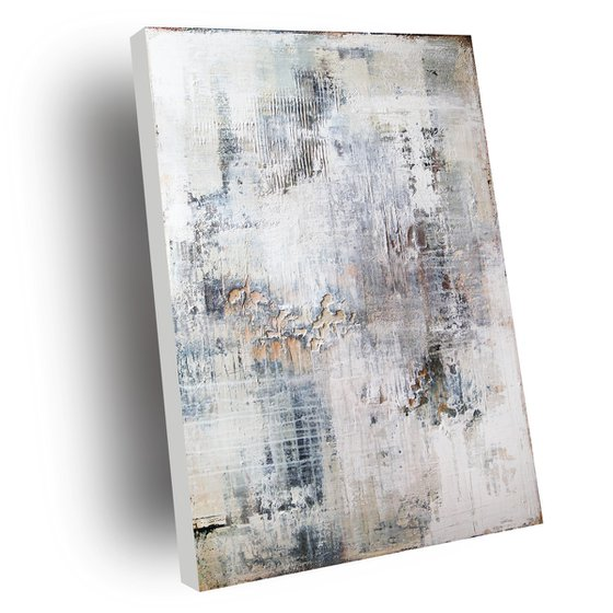 CRACKED STRUCTURES - ABSTRACT ACRYLIC PAINTING TEXTURED * PASTEL COLORS * READY TO HANG