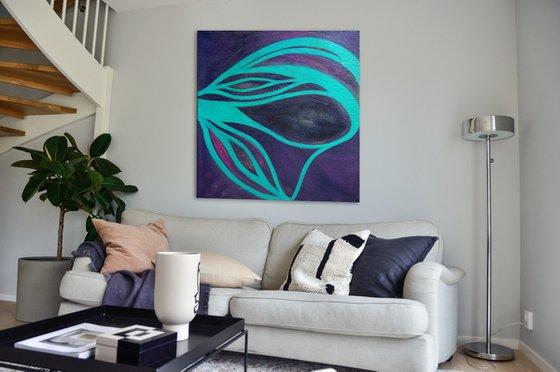 Large Painting I Wild Amethyst I 90x95x2 cm