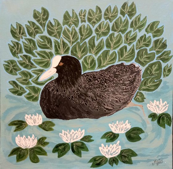 """""""Coot in Water Lilies"""""""