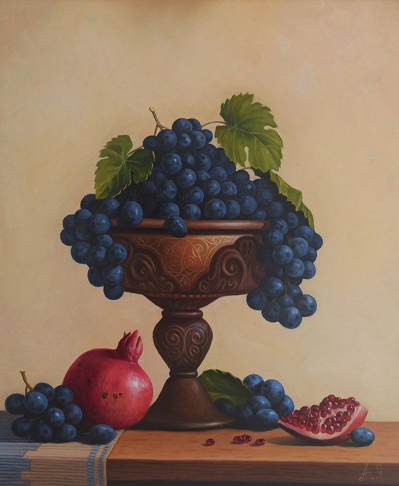 Still life with pomegranate and grapes (50x60cm, oil painting, ready to hang)