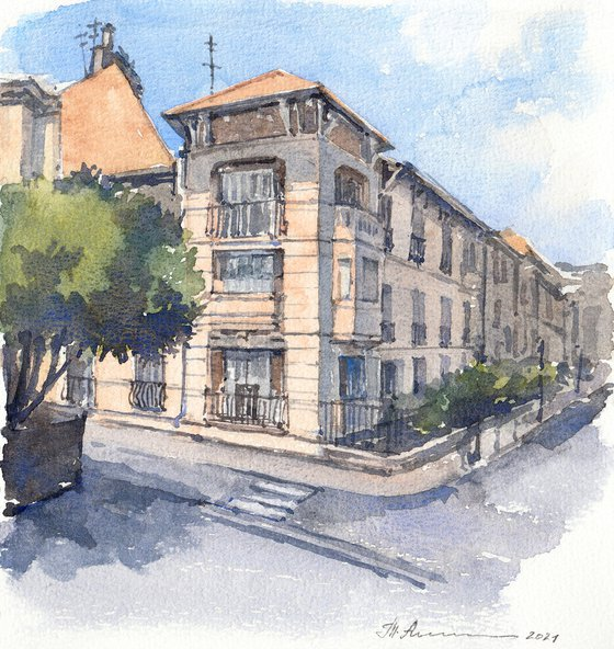Sunny street of Menton