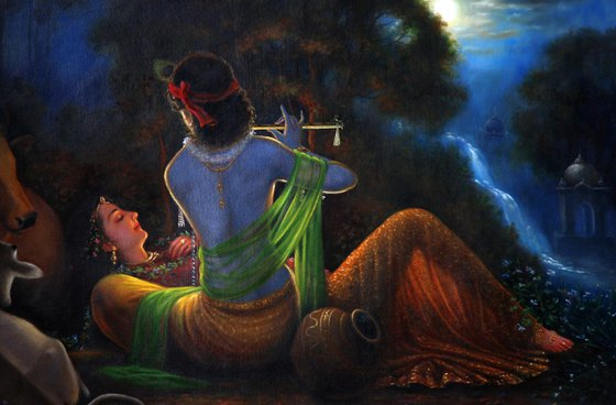 Moments of Musical Love and Divine Romance - Radha Krishna | Oil Painting By Hari Om Singh