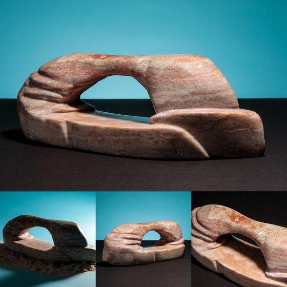 WIND, WATER, SAND & TIME (2018) – Hand-carved banded Utah alabaster