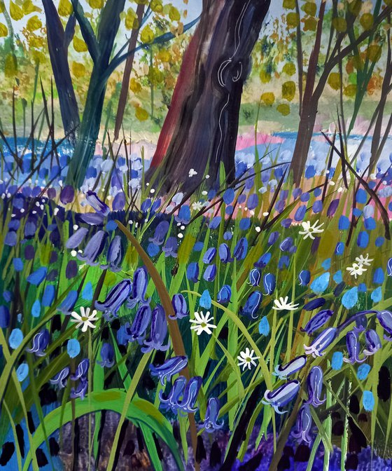 Alone in the Woods with Bluebells and Stitchwort