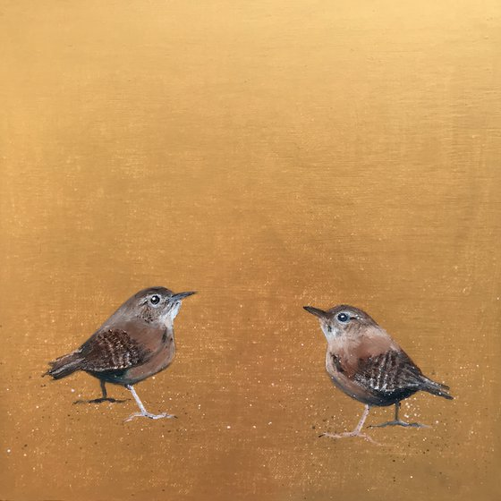 How About It? Two Little Wrens on Gold