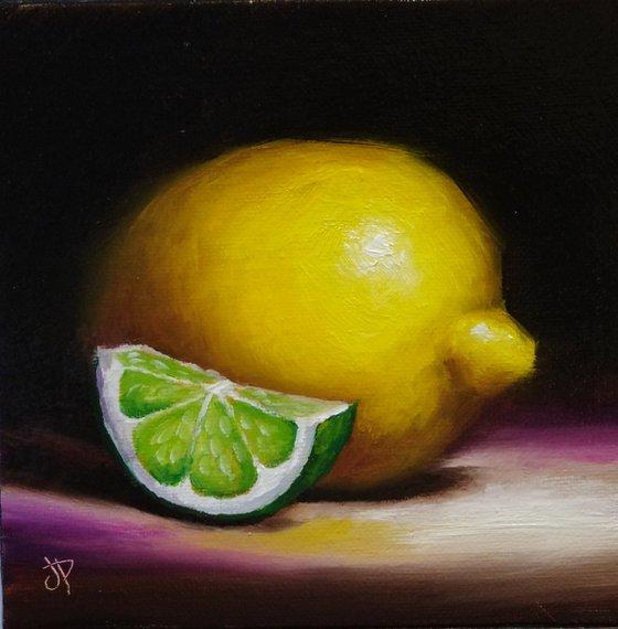 Lemon and lime  framed still life