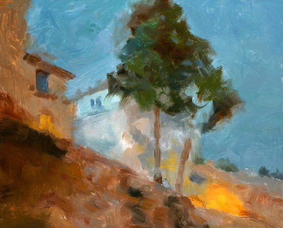 Rome by night, Italian architecture in dusk setting impressionist oil painting