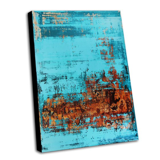 TROPEA - 110 x 80 CM - TEXTURED ACRYLIC PAINTING ON CANVAS * TURQUOISE COPPER
