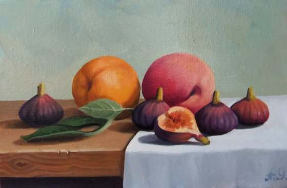 Still life with fig (20x30cm, oil painting, ready to hang)