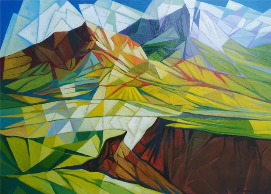 Cubism - Mountains - 2 (60x80cm, cubism, oil painting, ready to hang)