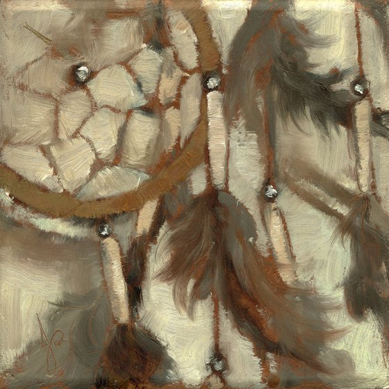 Dreamcatcher 2/ Still Life / Native American / Impressionistic / Miniature / Oil Painting / 4x4 Small Gift Art
