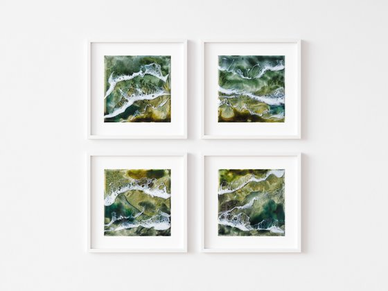 Green lake - set of 4 original seascape painting, polyptych