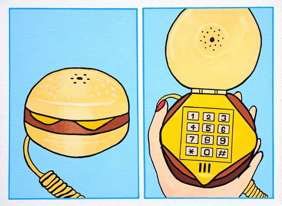 Burger Telephone Two Panel Pop Art Painting on Canvas