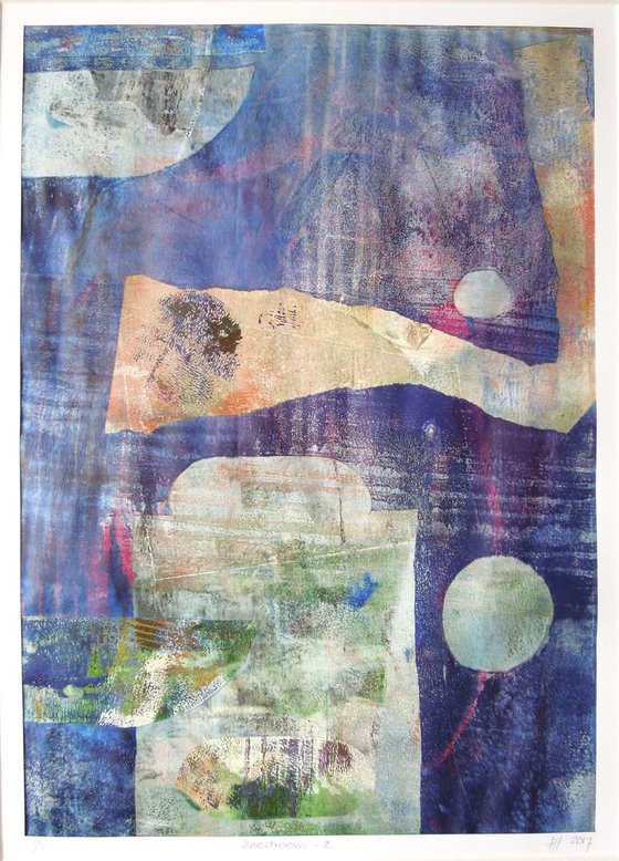 Sea Dream 2 - monoprint with passe-partout
