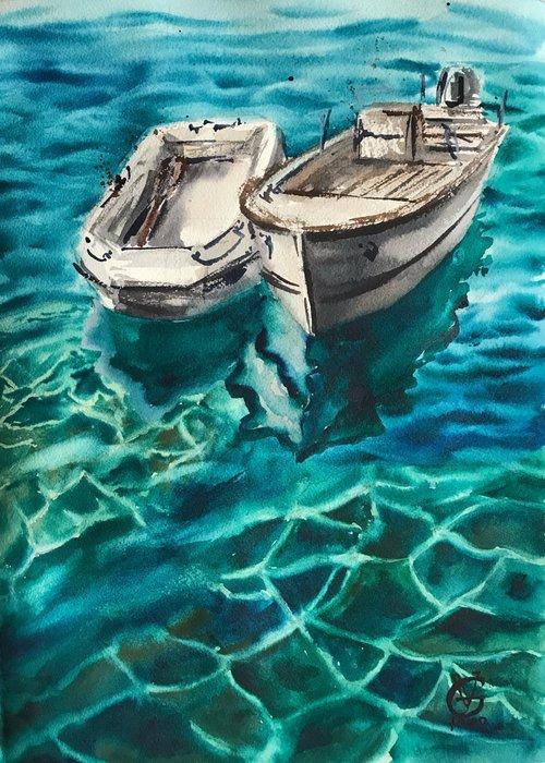 RIOMAGGIORE - original watercolor painting boat sea water emerald