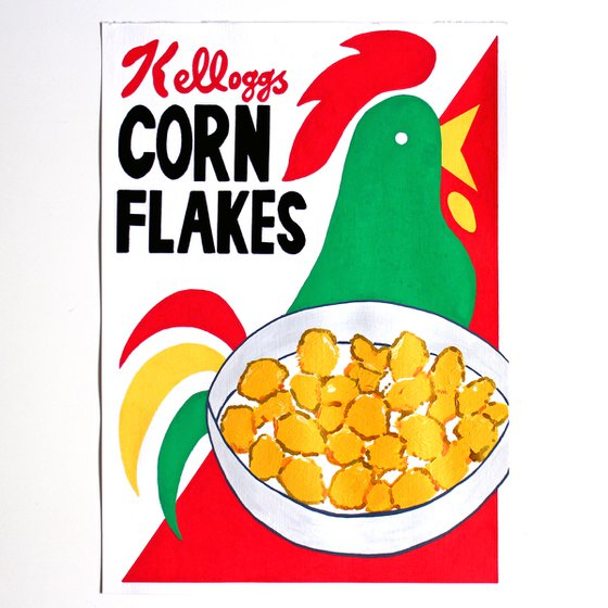 Retro Corn Flakes Box Painting on A4 (Unframed) Paper