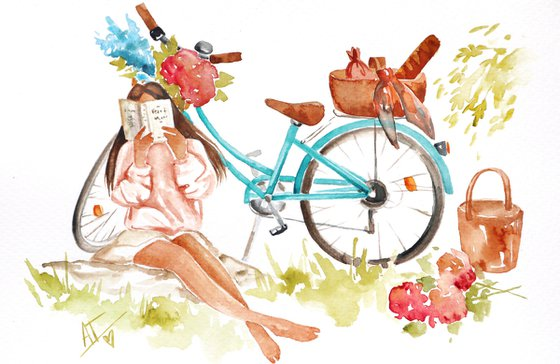 Girl with bike, flowers, roses, summer dress and happiness. Fashion illustration