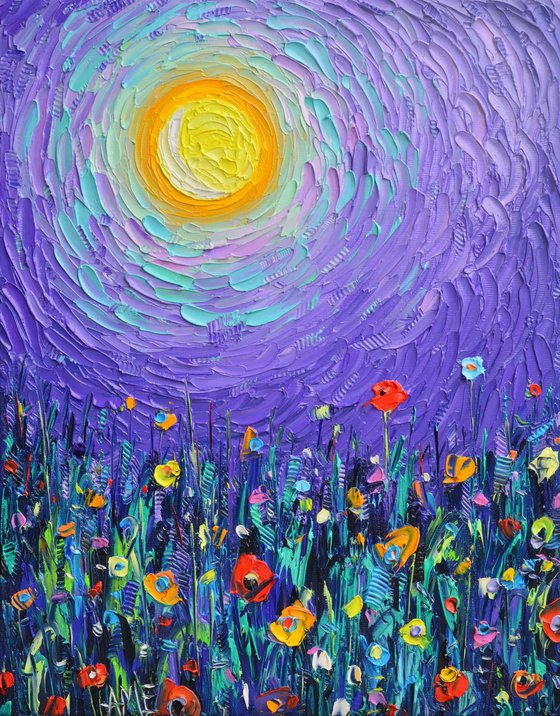 MAGIC NIGHT MEADOW BY MOONLIGHT  abstract colorful wildflowers landscape textural impressionist impasto palette knife oil painting by Ana Maria Edulescu