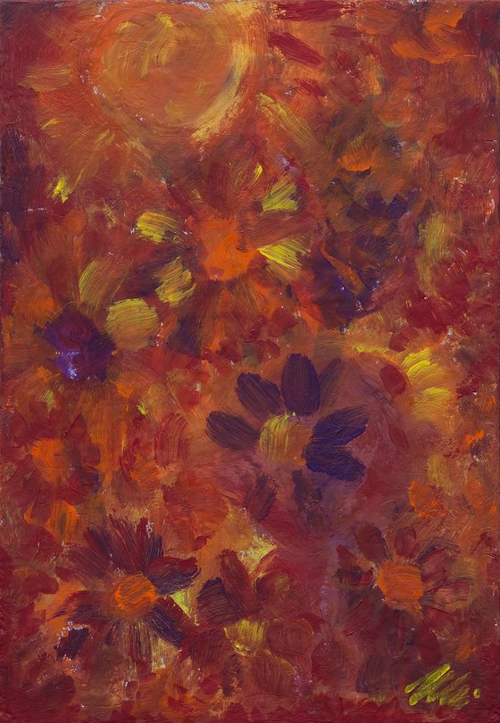 Flower garden in the summer - abstract flowers