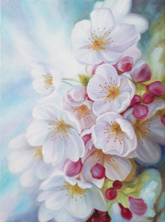 """""""Spring in the air"""", oil floral painting, flowers blossom art"""