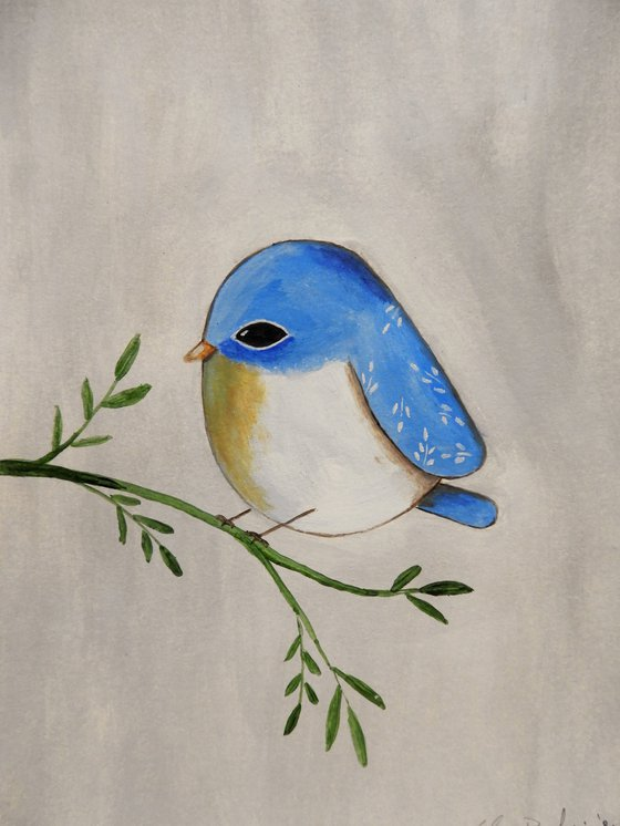 The light blue bird - oil on paper