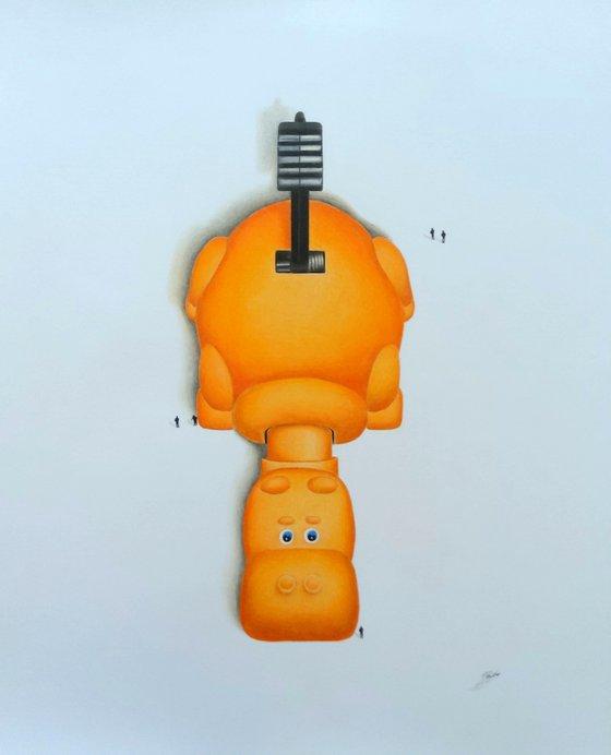 Hippo a pencil drawing (Orange)