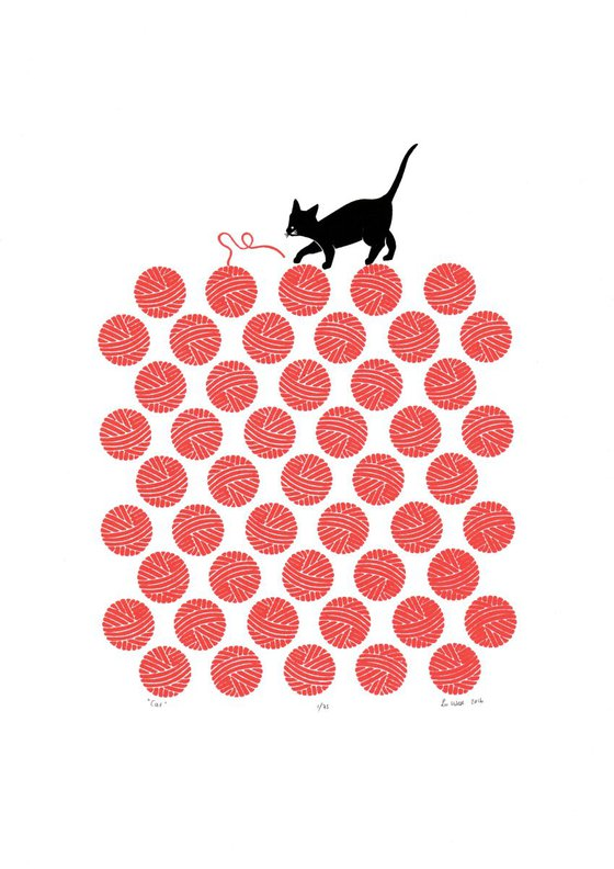 Cat in Cherry Red - Unframed - FREE Worldwide Delivery