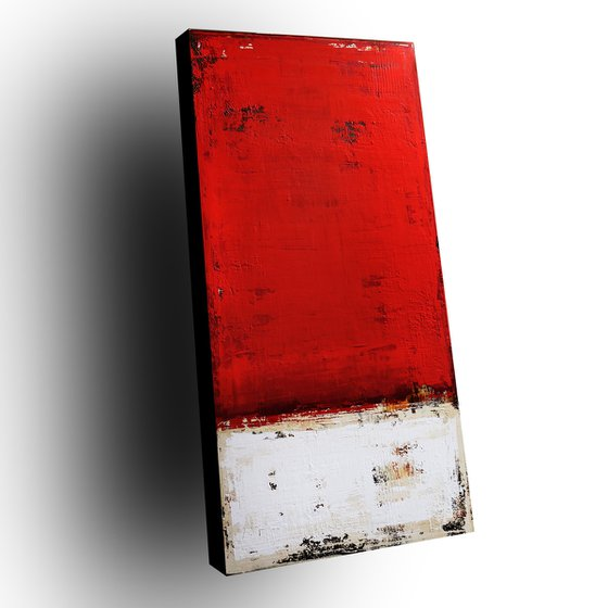 VINTAGE RED - ABSTRACT ACRYLIC PAINTING TEXTURED * READY TO HANG