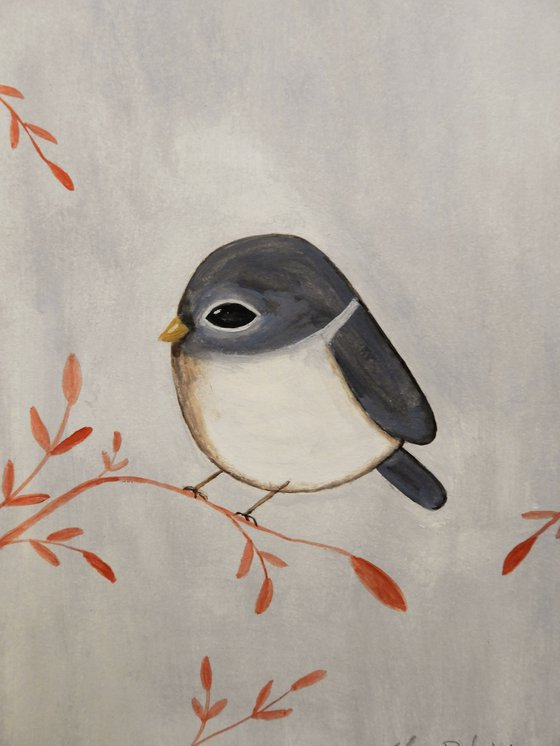 The small bird in blue - oil on paper