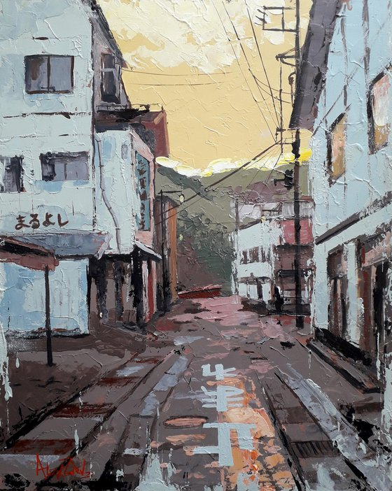 Cityscape Painting with a palette knife Provinces of Japan