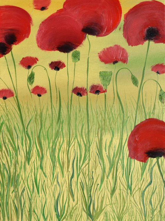 Funny Poppies - 40 x 30 cm ,ready to hang