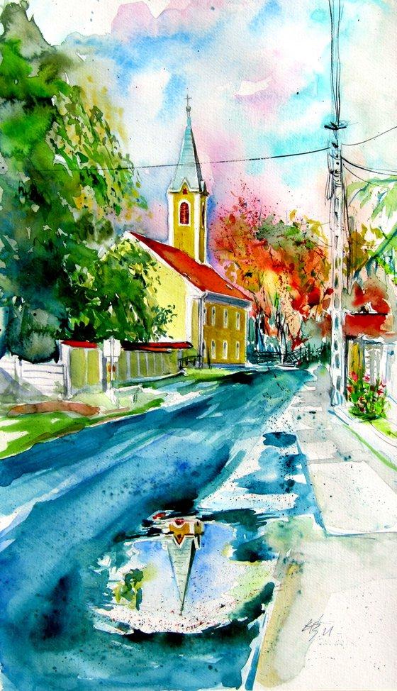 My village at fall /50 x 29,5 cm/