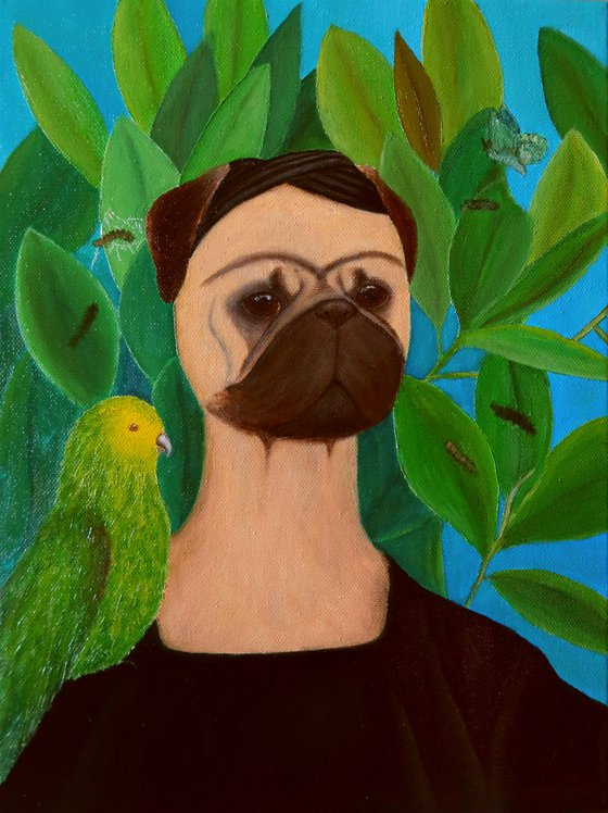 Frida Puglo - Self-portrait with Bonito Parrot and Butterfly (inspired by Frida Kahlo)