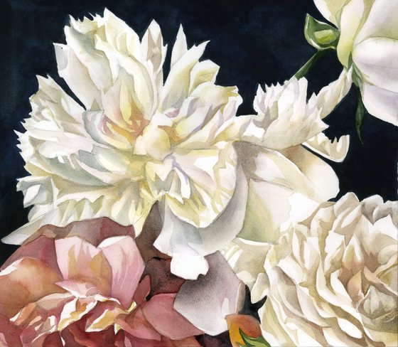 peonies with roses watercolor floral