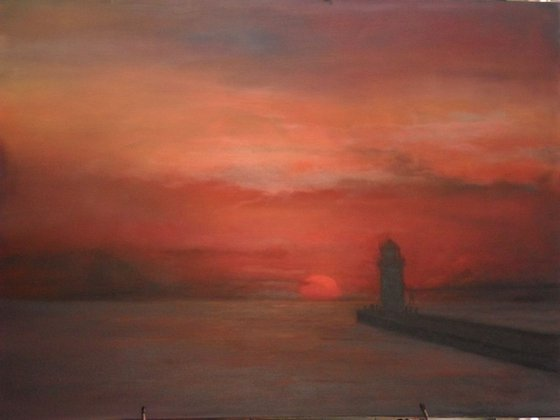 Lighthouse in 4 Seasons Summer